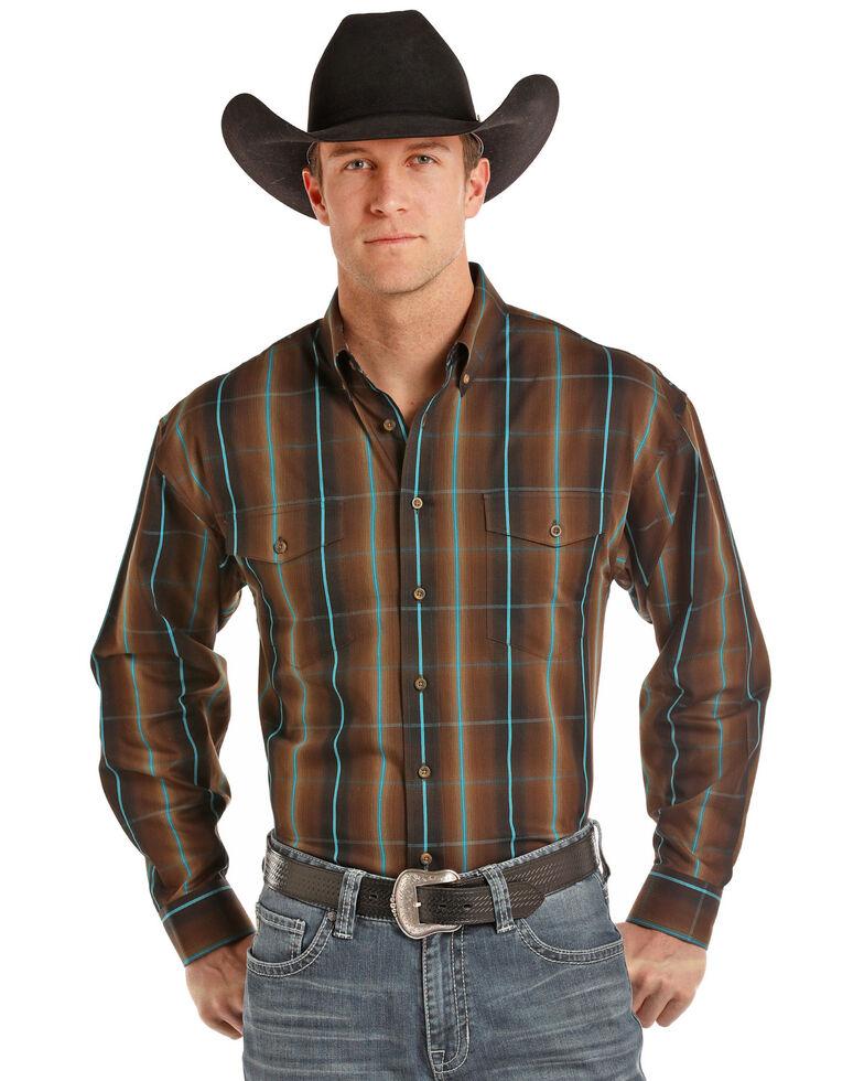 Panhandle Men's Brown Plaid Long Sleeve Western Shirt, Brown, hi-res