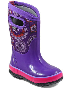 Bogs Girls' Classic Pansies Waterproof Boots - Round Toe, Purple, hi-res