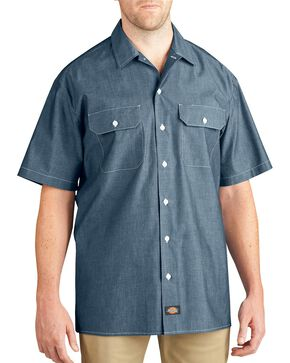 Dickies Relaxed Fit Chambray Short Sleeve Shirt - Big & Tall, Blue, hi-res