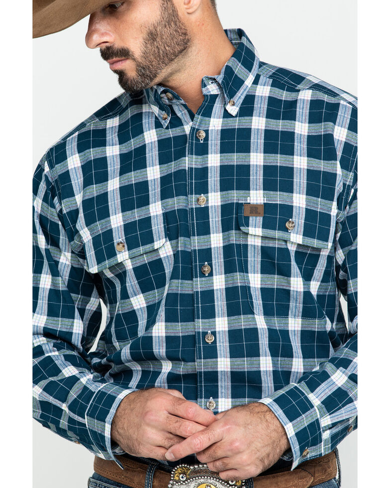 Wrangler Riggs Men's Navy Plaid Long Sleeve Work Shirt - Tall , Navy, hi-res