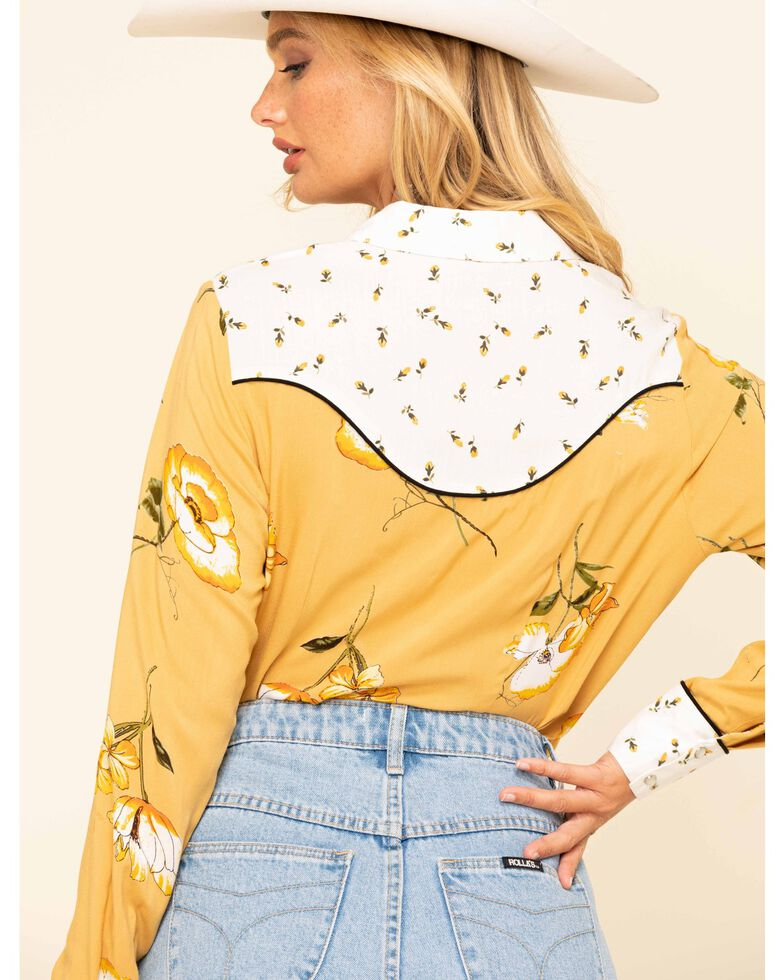 Cotton & Rye Outfitters Women's Mustard Floral Long Sleeve Western Shirt, Dark Yellow, hi-res