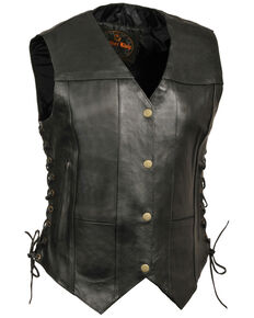 Milwaukee Leather Women's Black 6 Pocket Side Lace Conceal Carry Vest , Black, hi-res