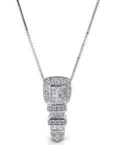 Kelly Herd Women's Clear Ranger Style Buckle Pendant Necklace, Silver, hi-res