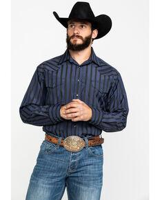 Panhandle Men's Navy Satin Dobby Stripe Long Sleeve Western Shirt , Navy, hi-res