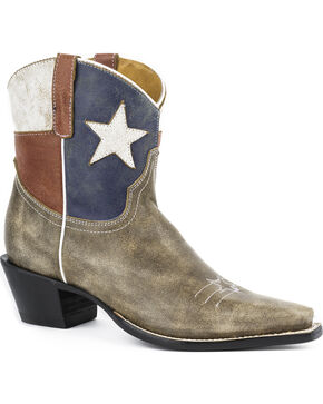 Roper Texas Short Cowgirl Boots - Snip Toe, Brown, hi-res