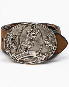 Cody James Boys' Rodeo Wing Buckle Belt , Brown, hi-res