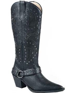Roper Women's Look At Me Tumbled Harness Western Boots, Black, hi-res