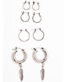 Shyanne Women's Moonlit Four Piece Small Hoop Earring Set , Silver, hi-res