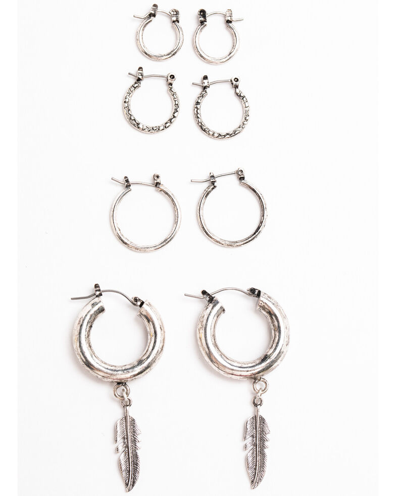 Shyanne Women's Moonlit Four Piece Small Hoop Earring Set , Silver, hi-res