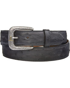 Lucchese Men's Black Full Quill Ostrich Leather Belt, Black, hi-res