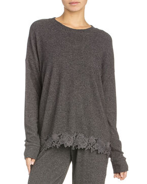 Miss Me Women's Soft Top Crochet Hem Top , Charcoal, hi-res