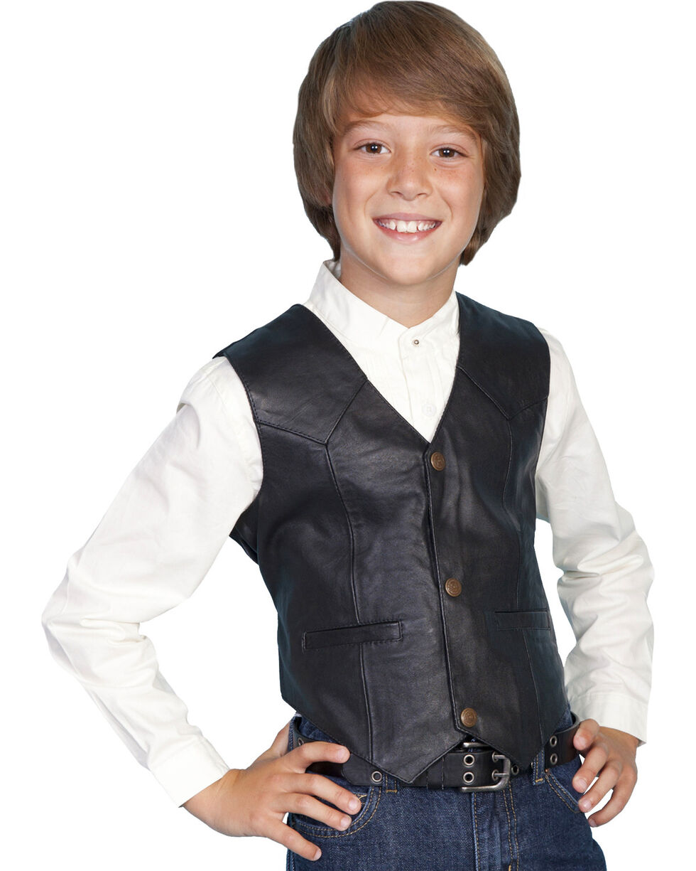 Scully Kid's Lambskin Vest, Black, hi-res