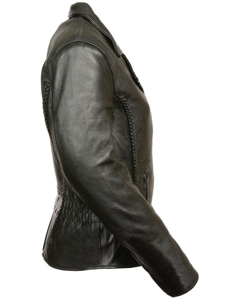 Milwaukee Leather Women's Braid & Stud Leather Jacket - 4X, Black, hi-res