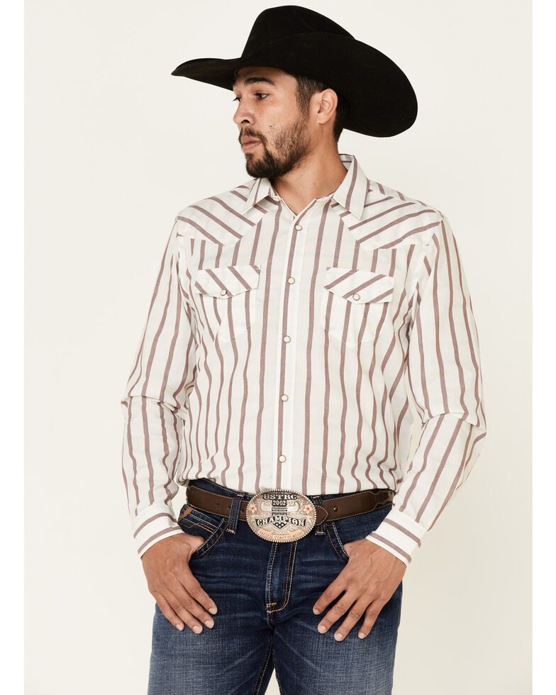 Gibson Men's All In 2 Plaid Long Sleeve Western Shirt , White, hi-res
