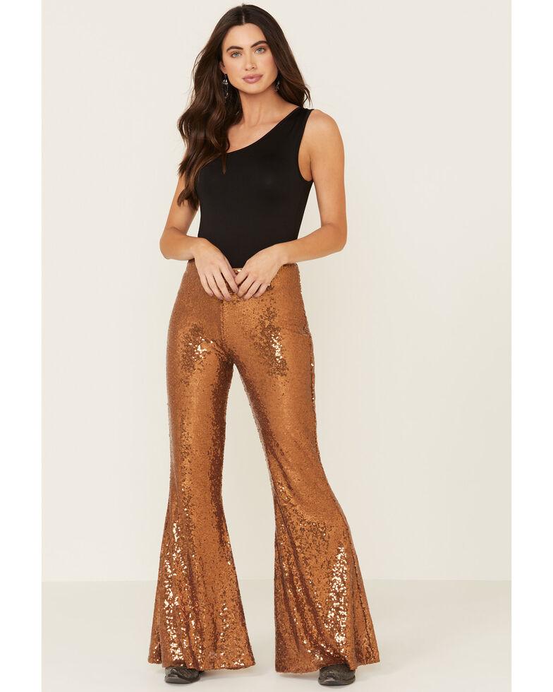 Panhandle Women's Copper Sequin Bell Bottom leggings, Gold, hi-res