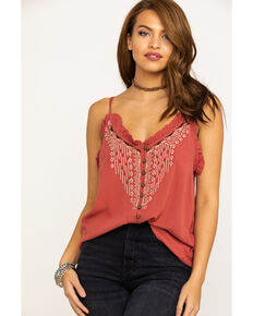 Shyanne Women's Rust Embroidered Spaghetti Strap Top, Rust Copper, hi-res