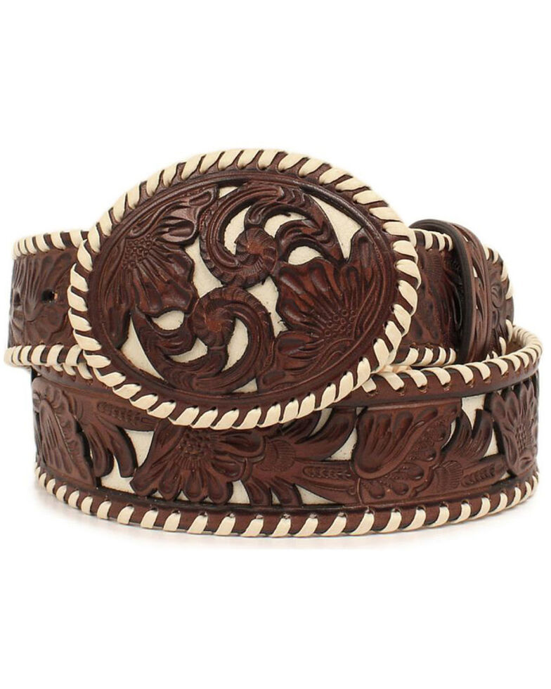Nocona Women's Lace Edge Floral Overlay Belt, Tan, hi-res