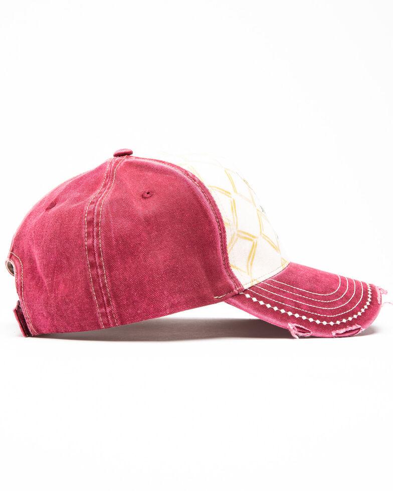 Shyanne Women's Boho Bull Head Cap , Maroon, hi-res