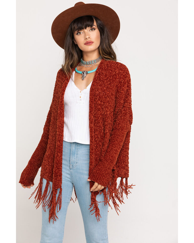 Mystree Women's Rust Chenille Drape Fringe Cardigan , Rust Copper, hi-res