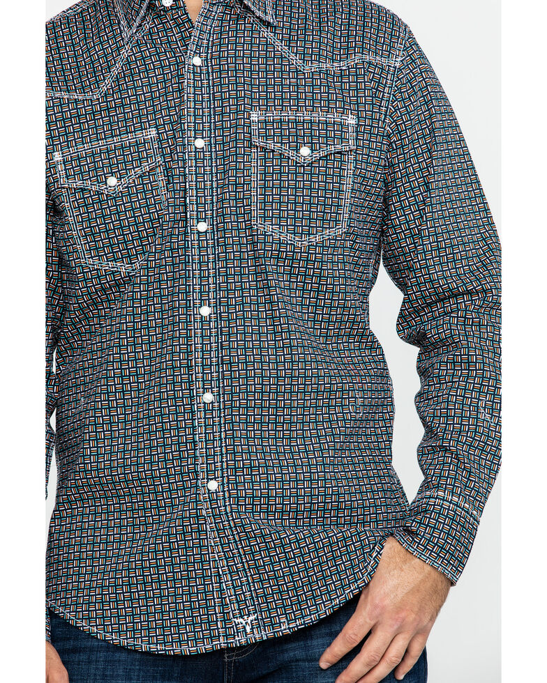 Wrangler 20X Men's Advanced Comfort Competition Navy Geo Print Long Sleeve Western Shirt , Navy, hi-res