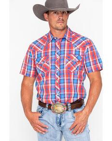 25e0679c39d Rock   Roll Cowboy Men s Crinkle Poplin Plaid Short Sleeve Western Shirt
