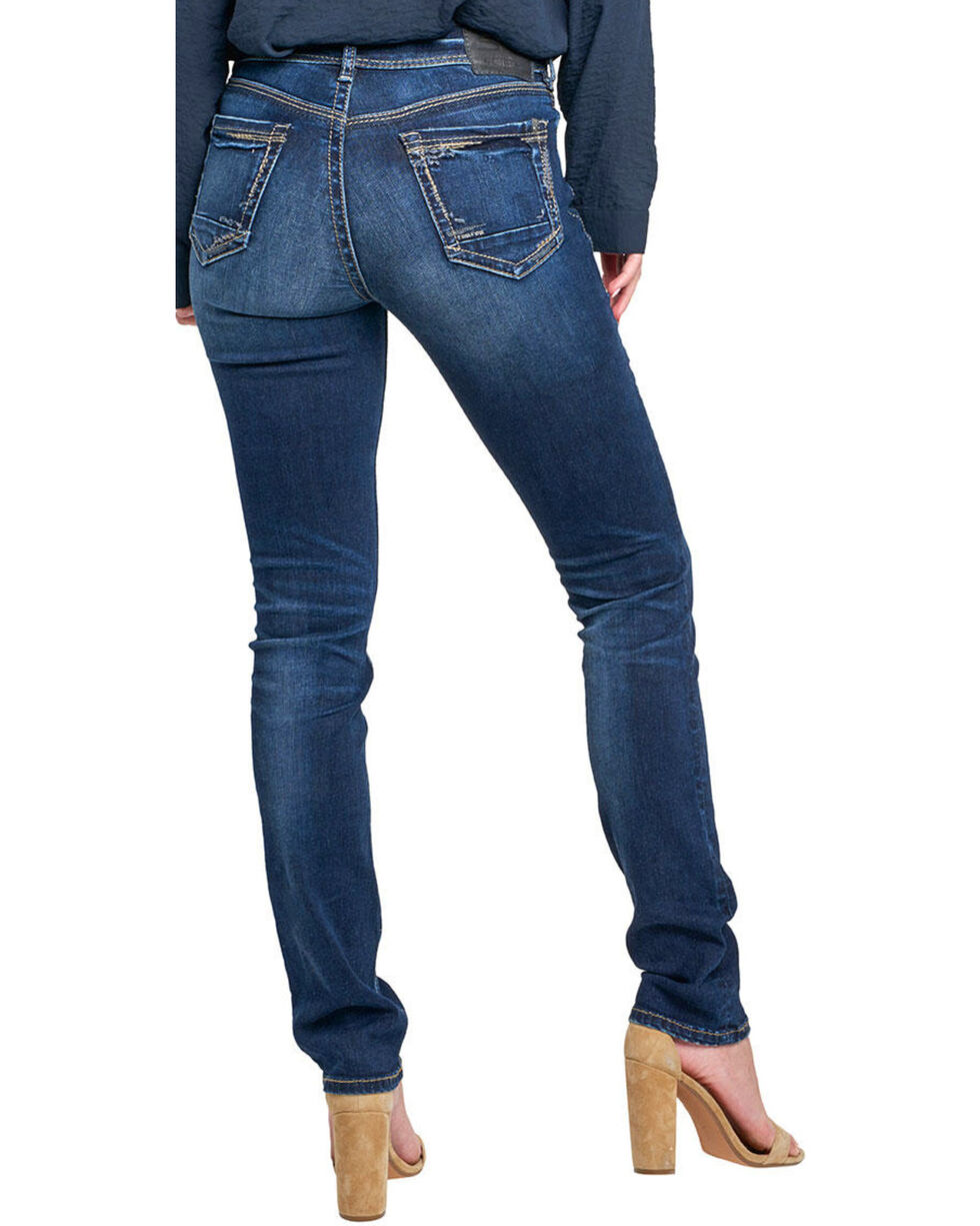 Silver Women's Avery Dark Wash Straight Leg Jeans , Indigo, hi-res