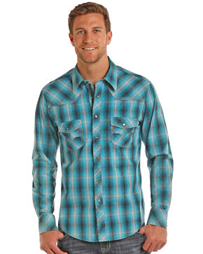 Rock & Roll Cowboy Men's Turquoise Ombre Plaid Shirt , Teal, hi-res