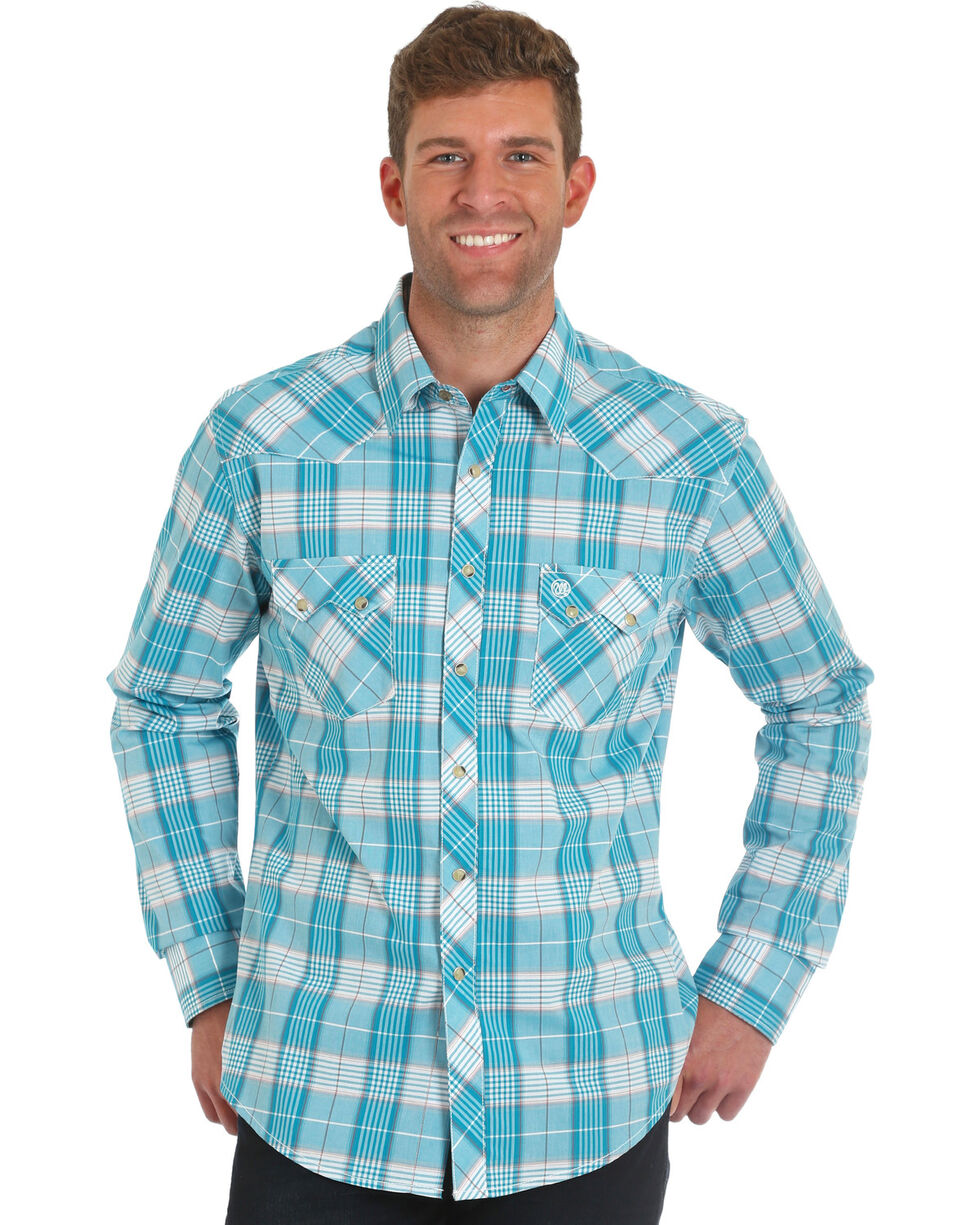 Wrangler Men's Retro Blue Plaid Long Sleeve Shirt , Blue, hi-res