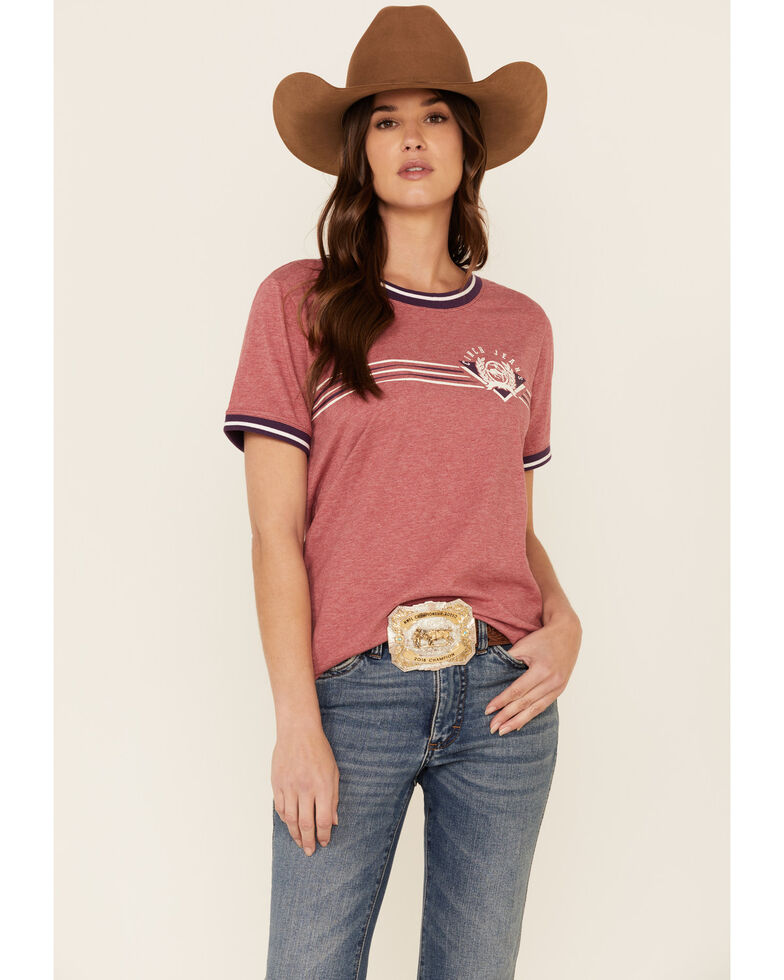 Cinch Women's Washed Red Logo Graphic Ringer Tee , Red, hi-res