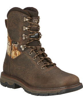 "Ariat Men's Conquest 8"" H20 Insulated Lace-Up Hunting Boots, Brown, hi-res"
