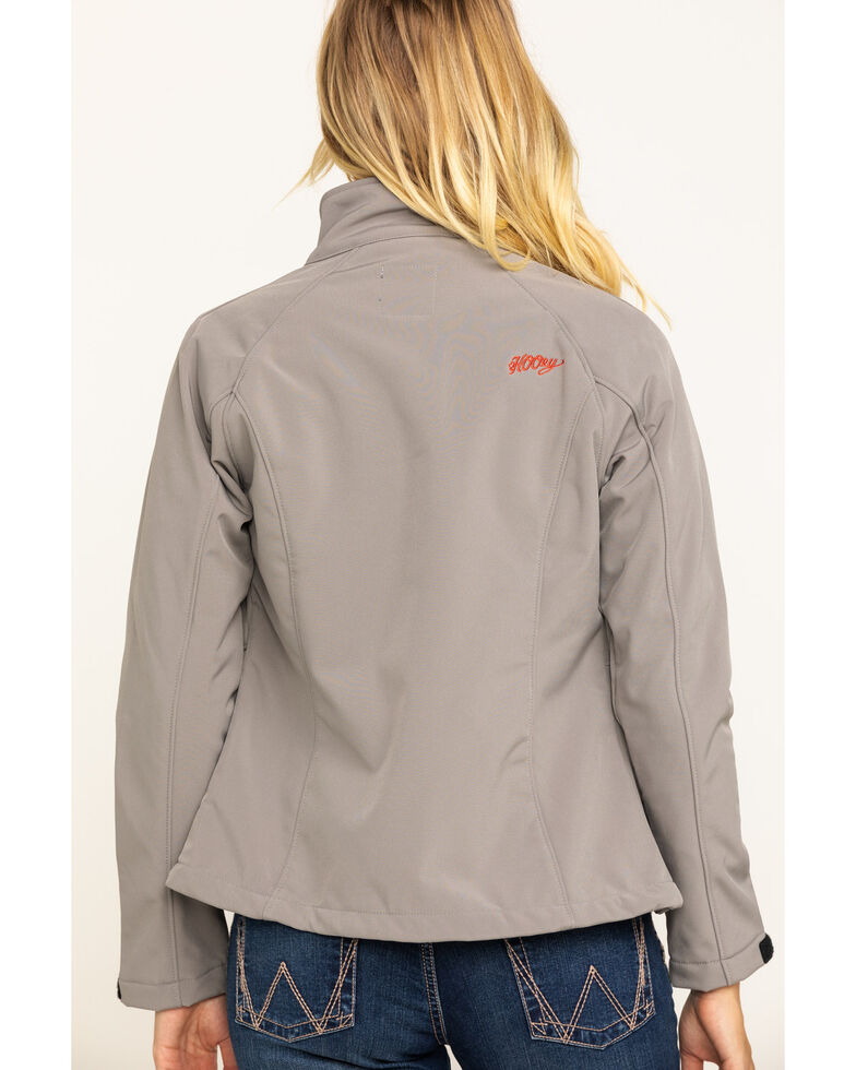 HOOey Women's Softshell Red Trim Jacket, Grey, hi-res
