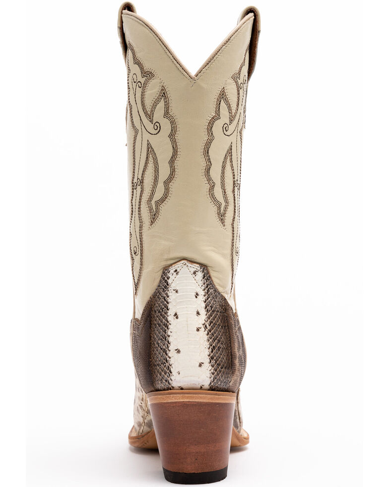 Dan Post Women's Bone Water Snake Western Boots - Snip Toe, Ivory, hi-res