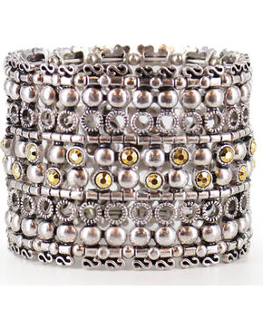 Shyanne® Women's Layered Stretch Bracelet  , Silver, hi-res