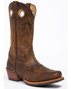 Cody James Men's West Stitch Western Work Boots - Square Toe, Dark Brown, hi-res