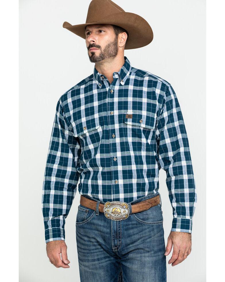 Wrangler Riggs Men's Navy Plaid Long Sleeve Work Shirt - Big , Navy, hi-res