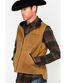Outback Trading Co. Men's Sawbuck Oilskin Zip-Up Vest, Tan, hi-res