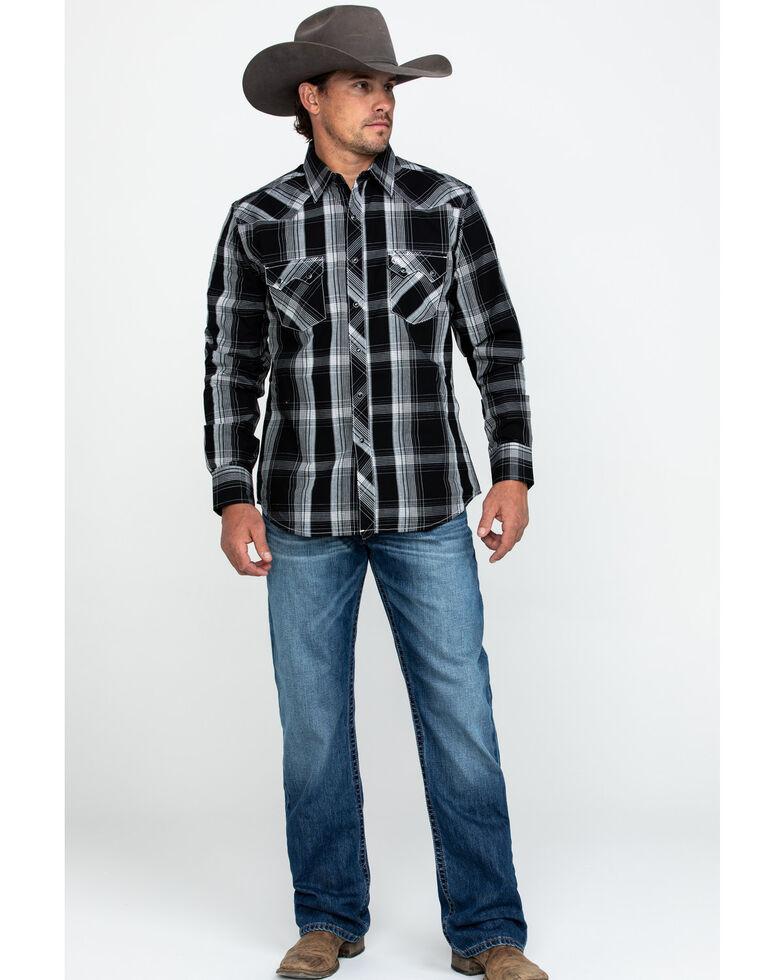 Wrangler Retro Men's Black Large Plaid Long Sleeve Western Shirt , Black, hi-res