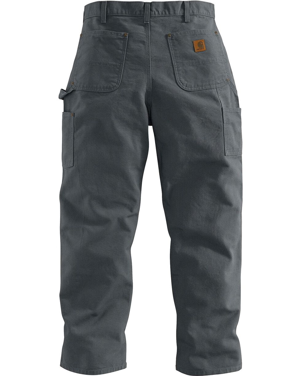 Carhartt Men's Double Front Washed Dungaree work Pants, Grey, hi-res