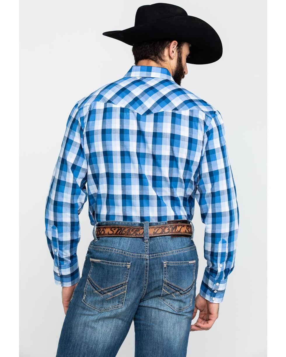 Roper Men/'s Classic Blue Plaid Snap Woven Long Sleeve Western Shirt