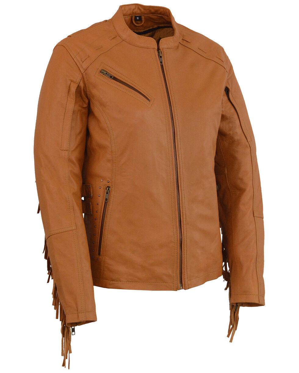 Milwaukee Leather Women's Lightweight Scuba Racer Jacket With Fringe - 5X, Medium Brown, hi-res
