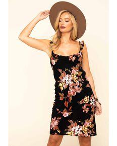Luna Chix Women's Black Floral Flutter Strap Midi Dress , Black, hi-res