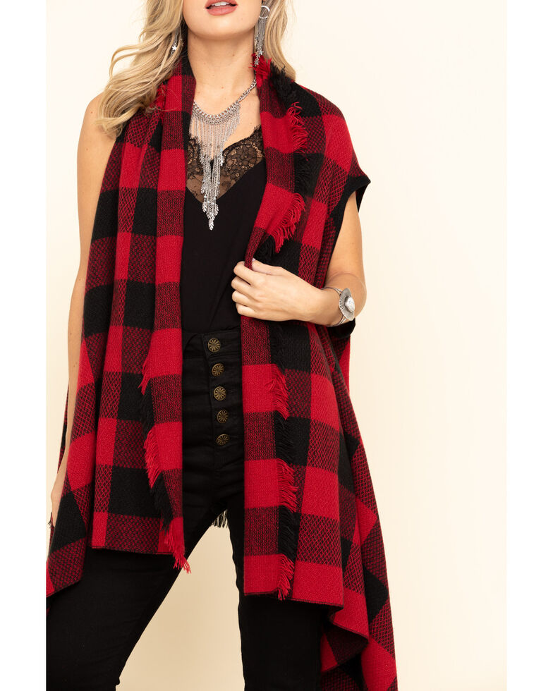 Shyanne Life Women's Red Woven Frayed Buffalo Check Vest, Red, hi-res