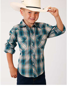 Roper Boys' Classic Multi Woven Plaid Long Sleeve Western Shirt , Multi, hi-res
