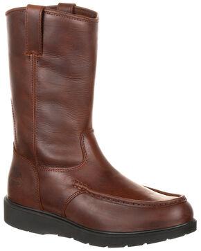 Georgia Boot Men's Wedge Bottom Western Work Boots - Moc Toe, Dark Brown, hi-res