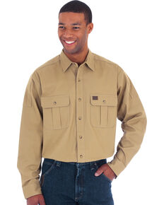 Wrangler Riggs Men's Tan Solid Advanced Comfort Long Sleeve Work Shirt , Tan, hi-res