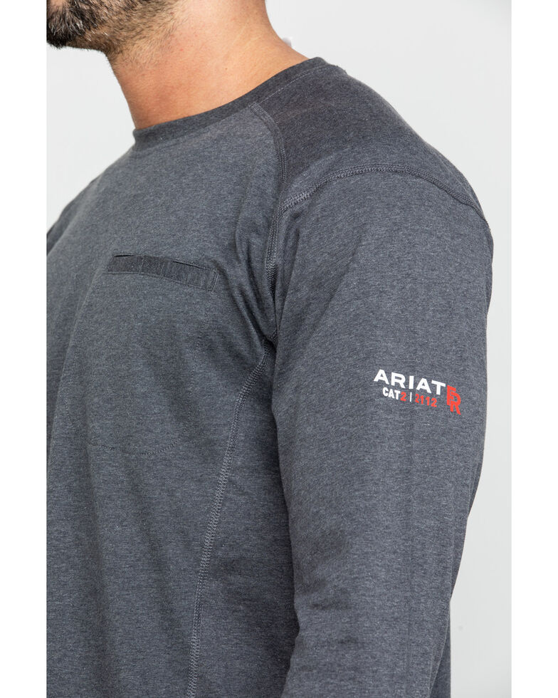 Ariat Men's Charcoal FR Air Henley Long Sleeve Work Shirt - Big, Charcoal, hi-res