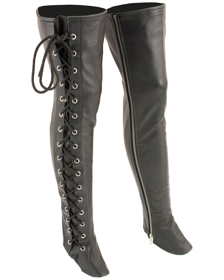 Milwaukee Leather Women's Thigh High Side Lace Leggings - 5X, Black, hi-res