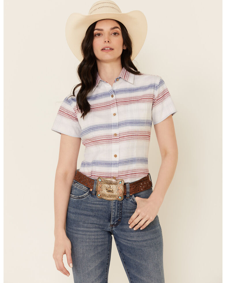 Rough Stock By Panhandle Women's Multi Stripe Short Sleeve Button-Down Western Core Shirt , Red/white/blue, hi-res