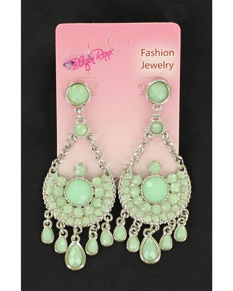 Blazin Roxx Mint Tear Drop Chandelier Earrings, Mint, hi-res
