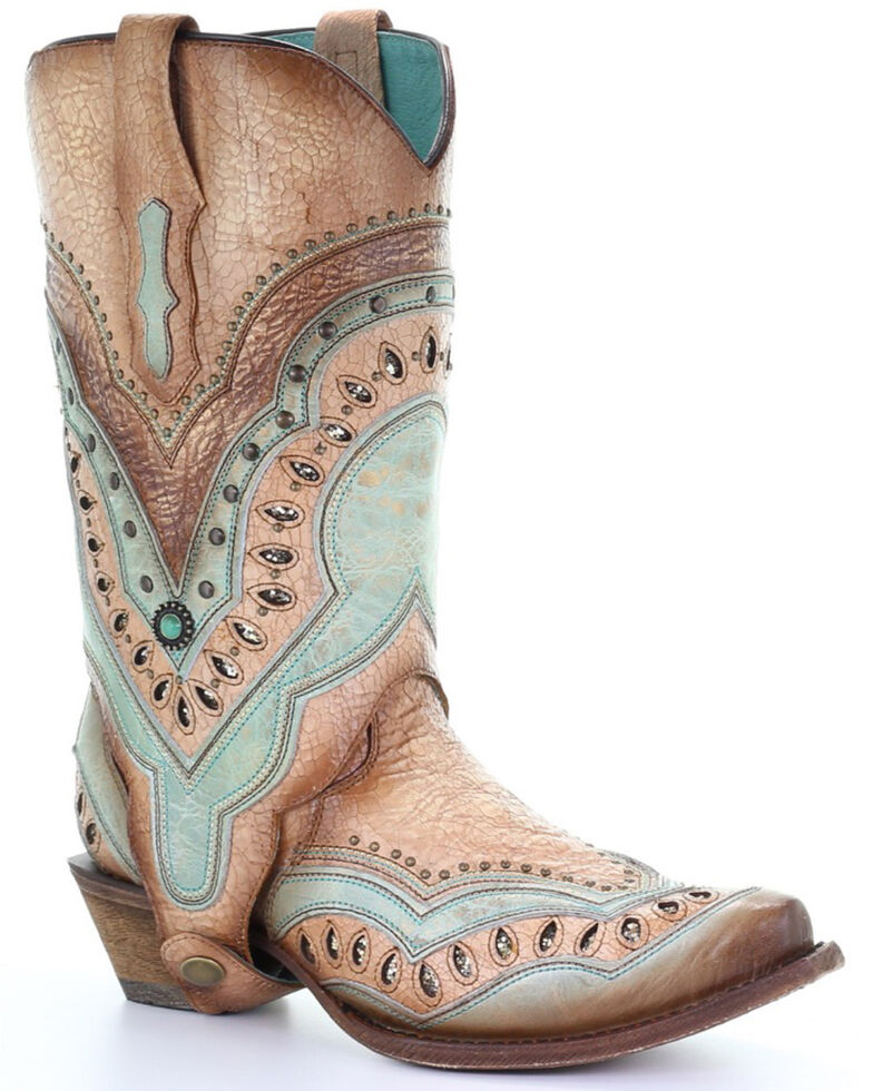 Corral Women's Orix Laser Embroidered Studded Western Boots - Snip Toe, Multi, hi-res